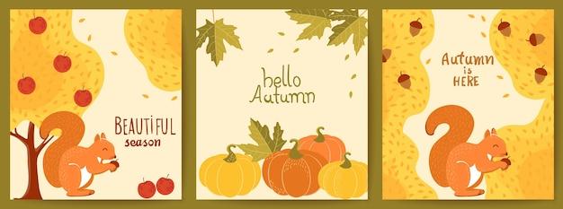 Set van drie herfstkaarten