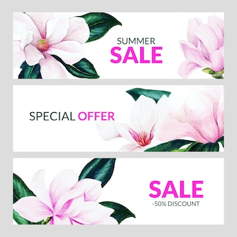 Set van drie horizontale banners met roze magnolia bloemen