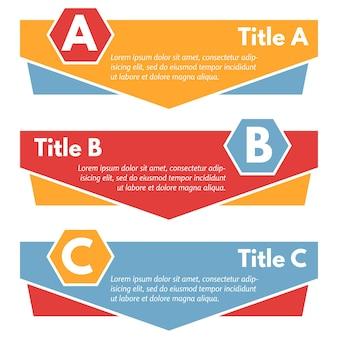 Set van drie horizontale kleurrijke opties banners. stap voor stap infographic ontwerpsjabloon. vector illustratie