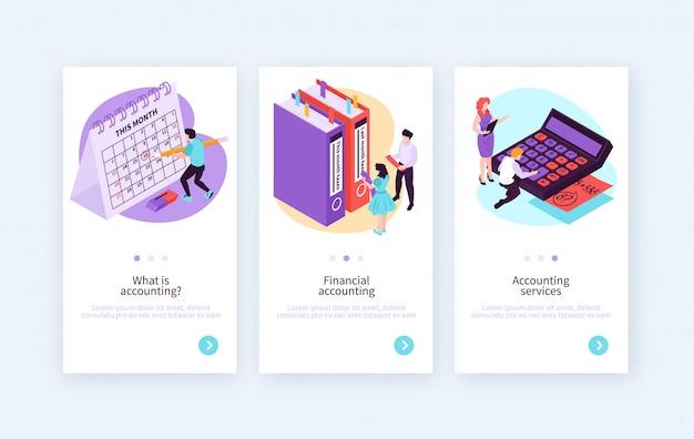 Set van drie isometrische boekhoudkundige verticale banners