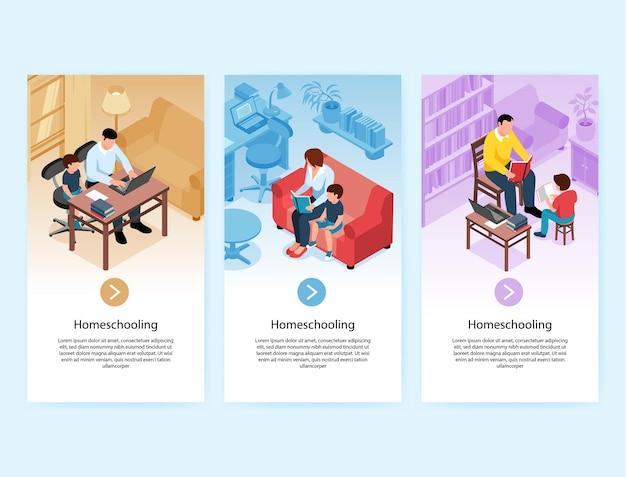 Set van drie isometrische familie homeschooling illustratie