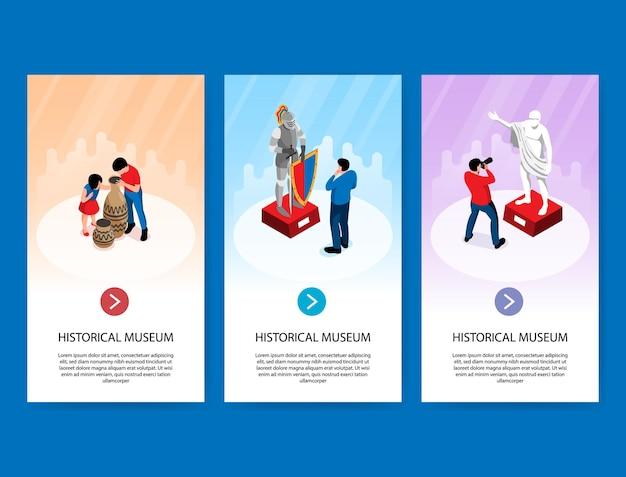 Set van drie isometrische historische museum verticale banners