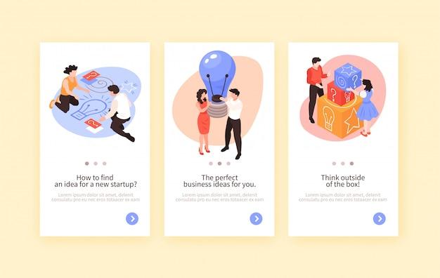 Set van drie isometrix teamwerk brainstormen verticale banners met conceptuele afbeeldingen en pictogrammen tekst en knop vectorillustratie