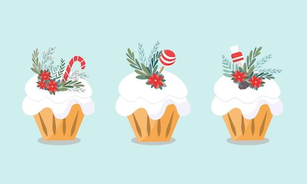 Set van drie kersttaarten. heerlijke gebakjes zijn versierd met snoep, bloemen en bladeren. ontwerp voor kerstmarkt, levensmiddelenwinkel. vector illustratie