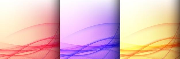 Set van drie kleurrijke golfstijl achtergrond vector