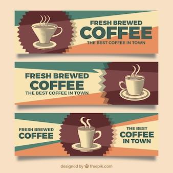Set van drie koffie banners in retro stijl