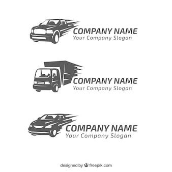 Set van drie logo's met decoratieve voertuigen