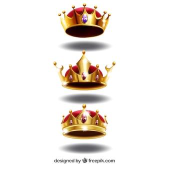 Set van drie luxe kronen in realistische ontwerp