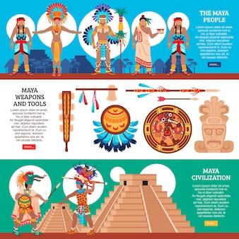 Set van drie maya-beschaving horizontale banners met vlakke stijl