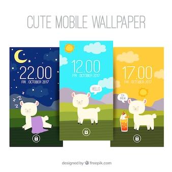 Set van drie mobiele achtergronden met schapen