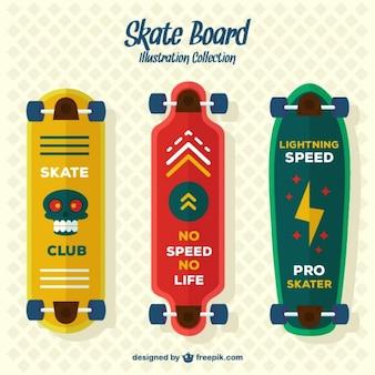 Set van drie moderne skateboards
