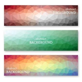 Set van drie multi gekleurde banners in laag poly kunststijl. achtergrond met plaats voor uw tekst. vector illustratie