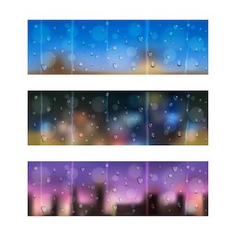 Set van drie naadloze banners met waterdruppels op vensterglas