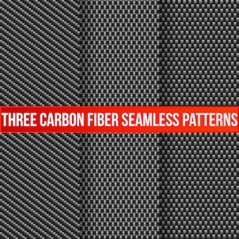 Set van drie naadloze patronen van koolstofvezel.