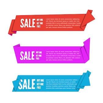 Set van drie origami papieren linten te koop. plat bannerontwerp voor reclame met ruimte voor tekst