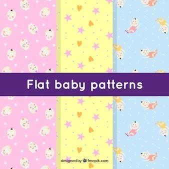 Set van drie platte babypatronen