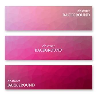 Set van drie roze banners in laag poly kunststijl. achtergrond met plaats voor uw tekst. vector illustratie