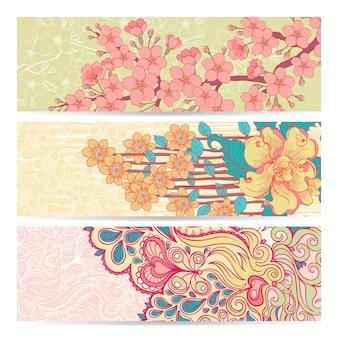 Set van drie sierlijke horizontale banners met natuurpatroon