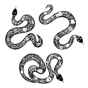 Set van drie slangen.
