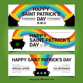 Set van drie st patrick dag banners met ketel en regenboog