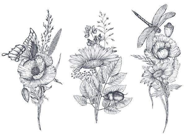 Set van drie vector bloemen boeketten met zwart-wit hand getekende kruiden, wilde bloemen en insecten, vlinder, bij, libel in schets stijl.