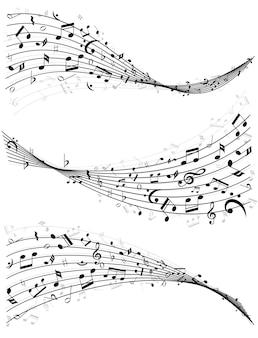 Set van drie verschillende golvende lijnen of notenbalken van willekeurige verspreide muzieknoten in zwart-wit