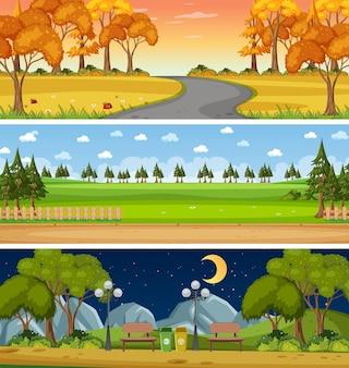 Set van drie verschillende horizontale natuurtaferelen