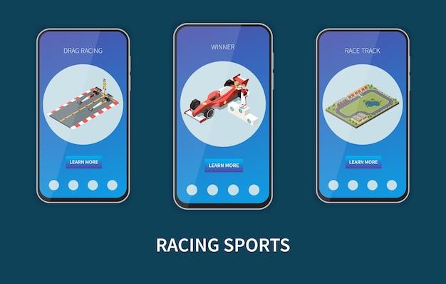 Set van drie verticale banners in smartphoneframes voor racesporten