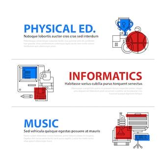 Set van drie webbanners over onderwijs