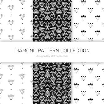 Set van drie zwarte en witte diamant patronen