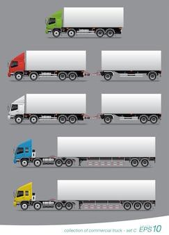 Set van droge vracht lading vrachtwagen