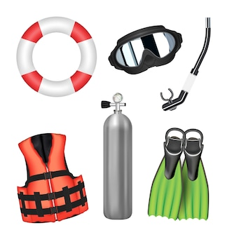 Set van duiken hulpmiddel op een witte achtergrond