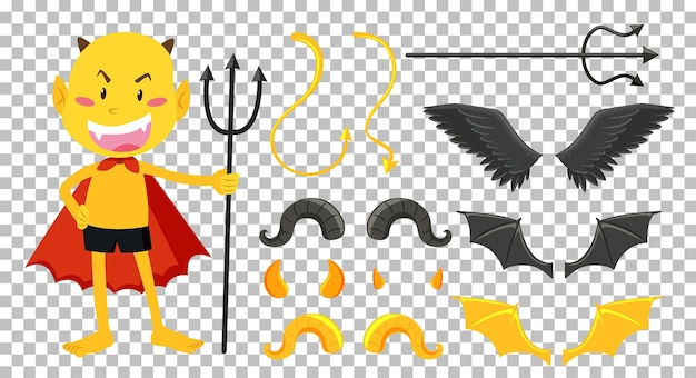 Set van duivel en engel object decor