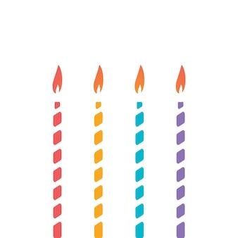 Set van dunne decoratieve kaars voor taartdecoratie van kindervakantieverjaardagsverjaardag