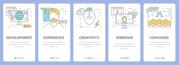 Set van dunne lijn platte ontwerp e-learning concept banners