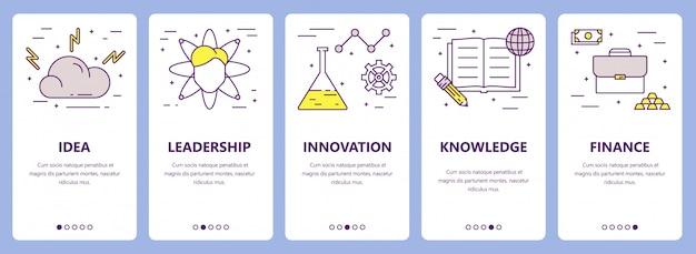 Set van dunne lijn platte ontwerp ondernemer concept banners