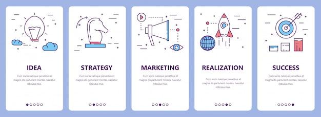 Set van dunne lijn platte ontwerp project concept banners