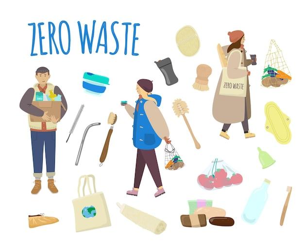 Set van duurzame en herbruikbare items
