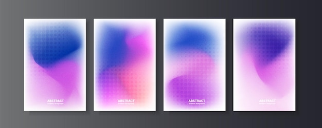 Set van dynamische gradiëntachtergrond met korrelige textuur