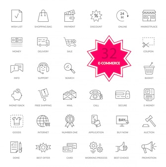 Set van e-commerce dunne, lijnen pictogrammen