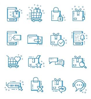 Set van e-commerce en online winkelen pictogrammen met kaderstijl