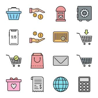 Set van e-commerce pictogrammen geïsoleerd op wit