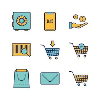 Set van e-commerce pictogrammen op witte achtergrond vector geïsoleerde elementen