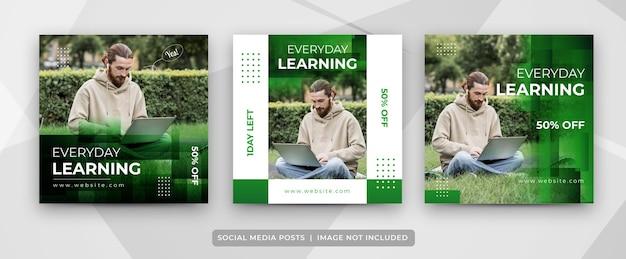 Set van e-learning post voor sociale media