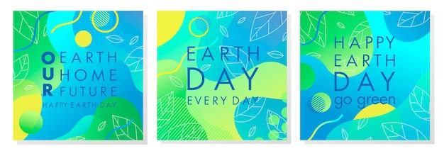 Set van earth day-posters met heldere gradiëntachtergronden en geometrische elementen