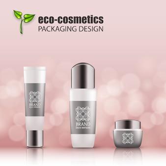 Set van eco-cosvetic eco-realistische groene glazen flessen