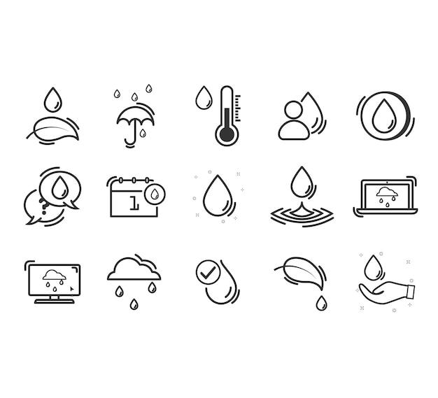 Set van eco-gerelateerde lijnpictogrammen.