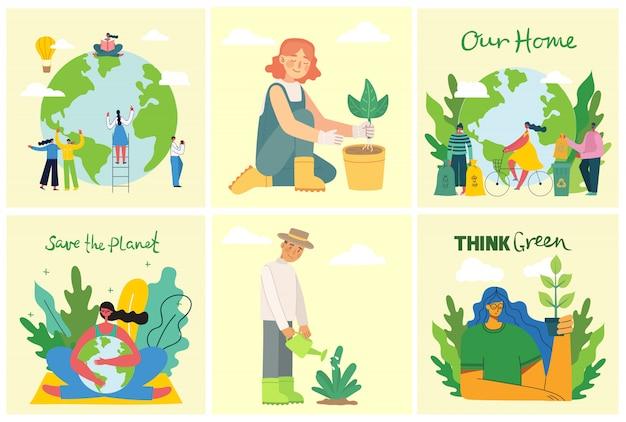 Set van eco-omgeving afbeeldingen opslaan. mensen die zorgen voor de planeet collage. geen afval, denk groen, red de planeet, onze handgeschreven tekst in het platte ontwerp