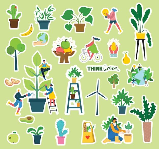 Set van eco-save milieu stickers afbeeldingen. mensen die voor planeetcollage zorgen. geen afval, denk groen, red de planeet, onze huishandgeschreven tekst in het moderne platte ontwerp