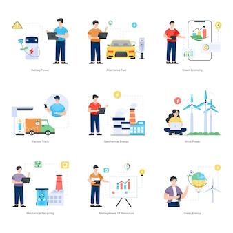 Set van eco-technologie platte illustraties